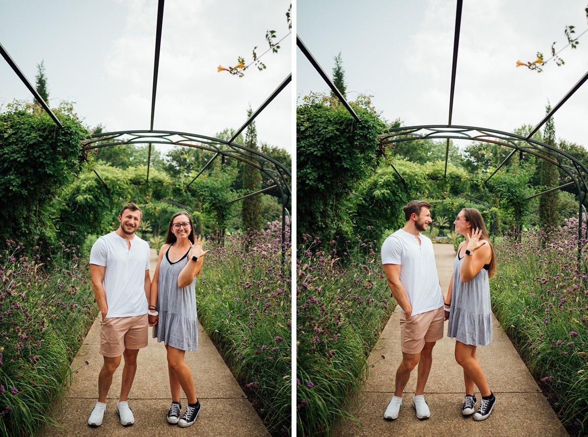 showing-off-new-ring Surprise Proposal at Cheekwood | Patrick and Corrina