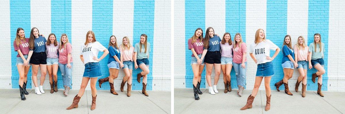bride-posing-with-bridesmaids Nashville Bachelorette Weekend Photoshoot